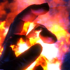 Hand wreathed in flames from the game Bioshock