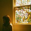 girl, stained glass window, face obscured