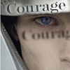 Close up of Arthur (Merlin TV show) in helmet with word &quot;Courage&quot; on rim of helmet.