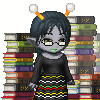 My as a Homestuck-style troll: a gray-skinned woman with glasses and knobby antennae horns, surrounded by books.