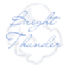 Bright Thunder in blue on a grey/white cloud