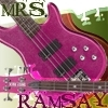 "Pink bass guitar with the words ""Mrs. Ramsay"""