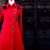 girl in a red coat