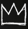 graffiti art of stylised image of a crown white on black