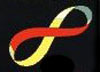 Infinity sign or sideways figure eight, red, yellow, and blue, from Katherine Neville&#x27;s &quot;The Eight&quot;