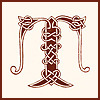 Letter T with celtic knotwork decoration