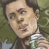 Dean Winchester, enjoying a fresh cup of coffee.