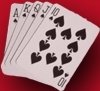 A royal flush in spades on red background.