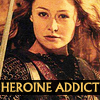 Eowyn holding a sword with text 'Heroine Addict'