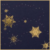 Merry: golden snow on blue