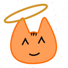 A cartoon kitty with a halo above its head