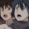 nezumi and shion express shock, confusion, and burgeoning horror as they are about to smash their foreheads into the dashboard of their stolen car
