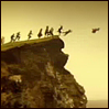 children flying off cliff