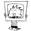 Calvin holding a cardboard tv-shape up