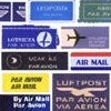 collage of airmail stickers in various languages