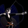 A female elven archer with black hair, and blue-black wings, drawing back a bow with an arrow nocked.