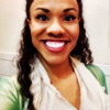 A picture of Alysha Deslorieux in costume as Eliza Schuyler, from the musical Hamilton.