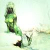 Green mermaid, painting by Rien Portvliet