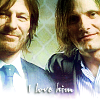 "Sean Bean & Viggo Mortensen w/""I love him"" text."