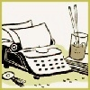 clip art style typewriter with iced tea and book