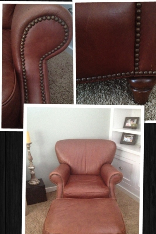 Offerup 2 beautiful leather club chairs w ottoman for Furniture gig harbor