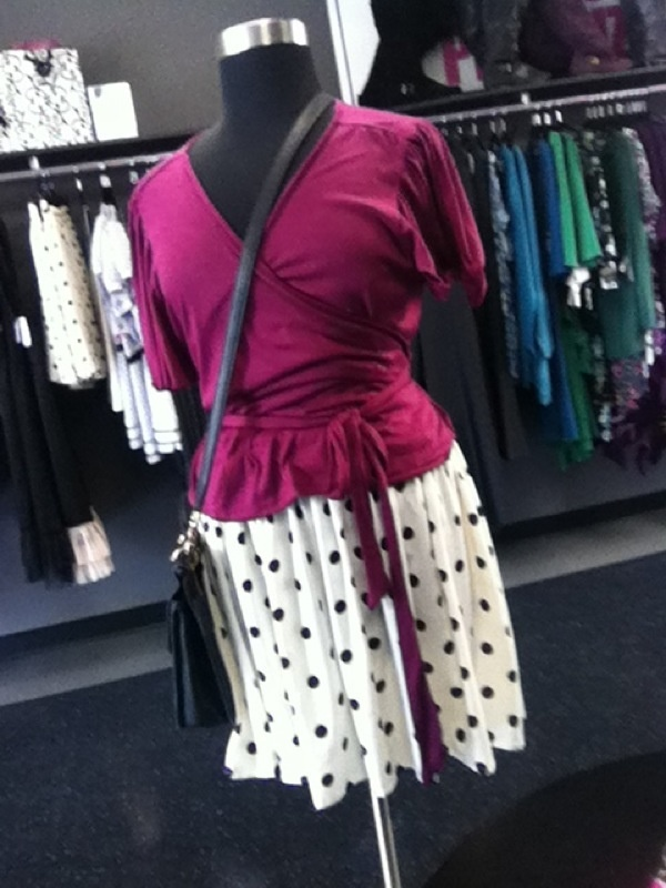 Wrap top and polka dot skirt