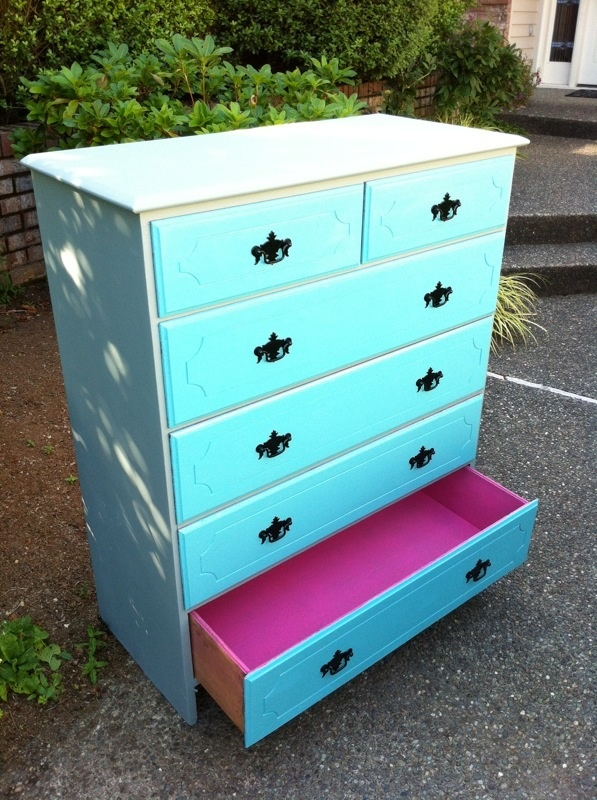 Upcycled Turquoise &amp; Gray Dresser