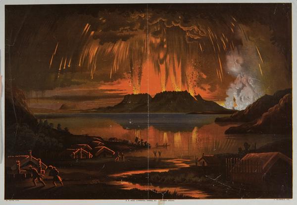 Mount Tarawera in eruption, June 10 1886, (from the native village of Waitangi, Lake Tarawera, N.Z.).