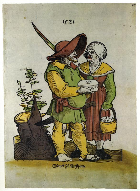 'Käsebauer und Käsefrau' [Cheesemaker and his wife] (Augsburg, 1521) from Flugblatter der Reformation und des Bauernfrieges