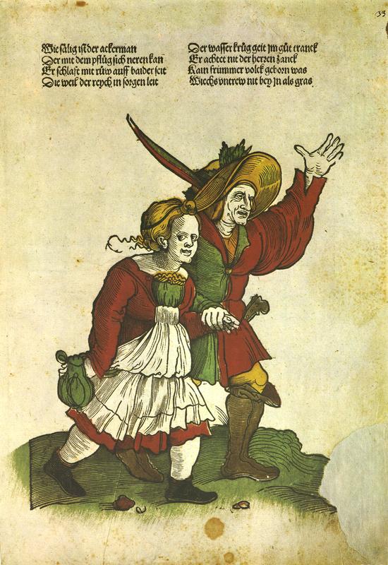 'Zum Tanz eilendes Bauernpaar', [Augsburg], 1521. Facsimile from Flugblatter der Reformation und des Bauernfrieges