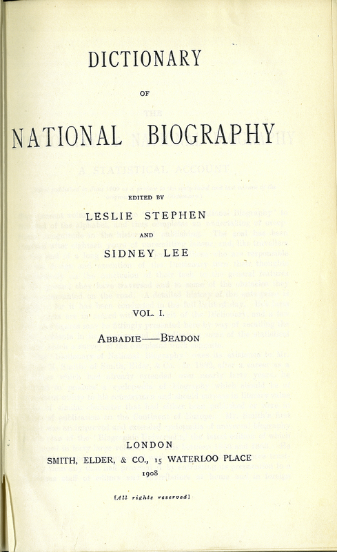 Dictionary of National Biography. Vol. I. Abbadie – Beadon