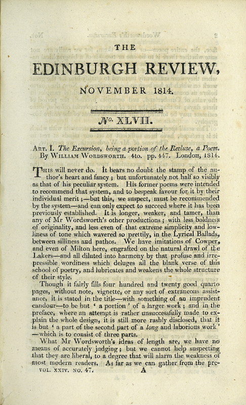 Review of 'The Excursion, being a portion of the Recluse, a Poem. By William Wordsworth', in The Edinburgh Review, or Critical Journal, No. XLVII