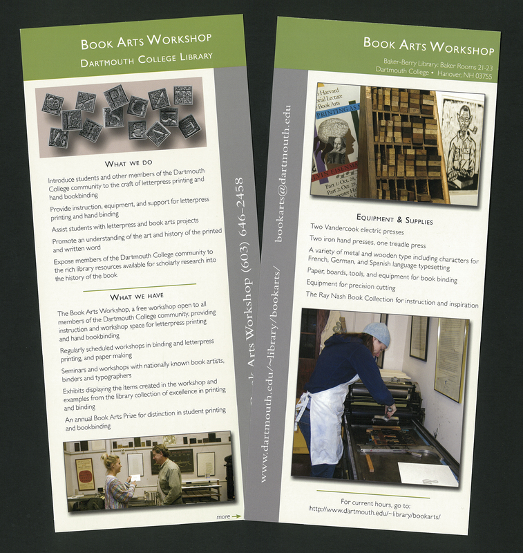 Dartmouth College Library Book Arts Workshop leaflets