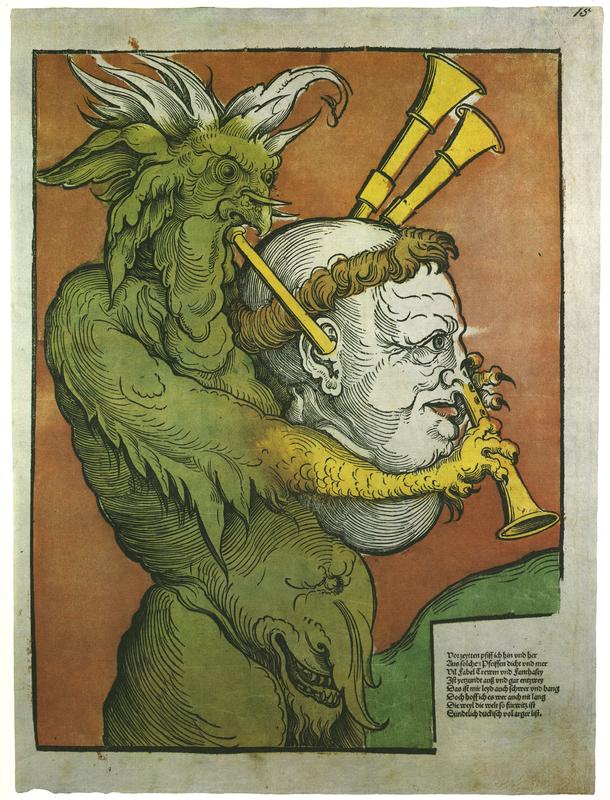 'Der Teufel mit der Sackpfeife' [The Devil playing the Bagpipe], [Nuremberg], 1535. Facsimile from Flugblatter der Reformation und des Bauernfrieges