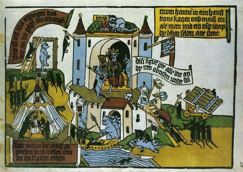 Krieg der Mäuse gegn die Katzen [Battle of Mice and Cats], 1500, from Flugblatter der Reformation und des Bauernfrieges