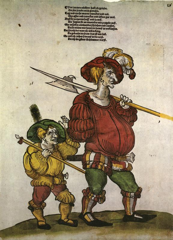 Landsknecht und Troßbube, [Lansquenet and Baggage train boy, Augsburg], 1521 from Flugblatter der Reformation und des Bauernfrieges