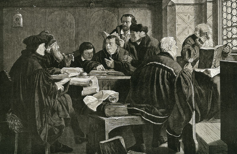 [Bible class with Luther and friends], from Die Reformatoren: ein Gedenkbuch für die Evangelische Christenheit.