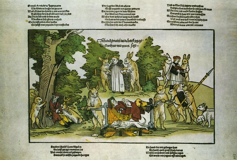 Hasen richten über Jäger und Mönche [Hares are judging hunters and monks], 1535 from Flugblatter der Reformation und des Bauernfrieges