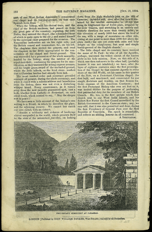 'New Chapel and Burial-Ground of the British Protestant Residents at Caracas, the Capital of Venezuela, in South America', in The Saturday Magazine, No. 147