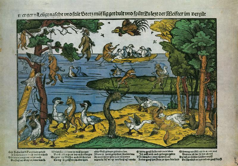 Kampf der Gänse gegen die Füchse [Battle of the geese against the fox], 1544 from Flugblatter der Reformation und des Bauernfrieges