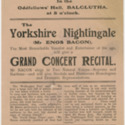 The Yorkshire Nightingale (Mr Enos Bacon) grand concert recital flyer