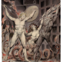 'Satan, Sin, and Death: Satan Comes to the Gates of Hell' from Thirteen Watercolor Drawings by William Blake illustrating Paradise Lost by John Milton