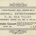 Farewell entertainment to Mr Ben Tillet, Smoke Concert ticket