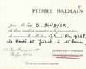 Pierre Balmain, Invitation for Miss A. Bowbyer (sic),