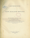 Contributions to New Zealand Botany