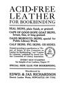 || <em>Acid-Free Leather for Bookbinding</em>, ___ | ___, ___ | Private Collection