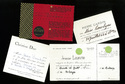 Invitations to Avice Bowbyes from Jeanne Lanvin, Christian Dior, Pierre Cardin, and the International Wool Secretariat, [1964]