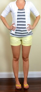 outfit post: grey & white striped tank, white cardigan, yellow shorts