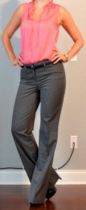 outfit post: peach sleevelss blouse, grey 'editor' pants, black heels