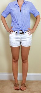 outfit post: blue striped button down, white shorts, brown belt